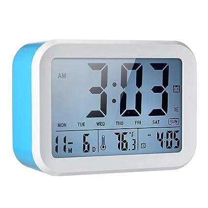 Decdeal Reloj Despertador Digital con Voces de Sensor LCD ...
