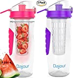 Fruit Infuser Water Bottle 32 Ounce NO BPA Sports Flavor Infusion Bottle - PLUS Recipe Ebook and Cleaning Brush INCLUDED (2 PACK - PINK&PURPLE)