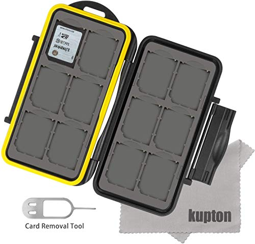 Kupton Memory Card Case Water-resistance Shockproof Carrying Bag Box for 12 Piece SDHC/SDXC Card/MicroSD Card SD Card Superfine Fiber Cloth