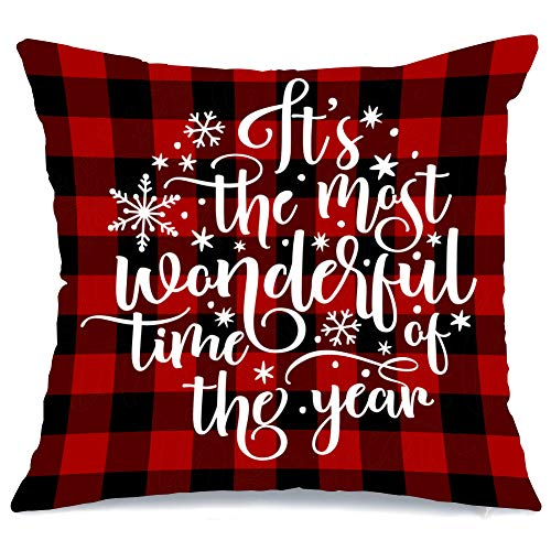 AENEY Christmas Pillow Cover 18x18 for Couch Red and Black Buffalo Check Plaid Wonderful Time Throw Pillow Farmhouse Decorations Home Decor Xmas Decorative Pillowcase Faux Linen Cushion Case Sofa