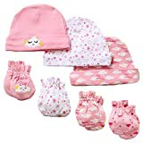 7 Piece Scratch Mittens and Caps Set Infant Newborn Gift Set For Baby Girls, 0-6 Months
