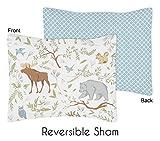 Sweet Jojo Designs Standard Pillow Sham for Woodland Animal Toile Girl or Boy Bedding Sets