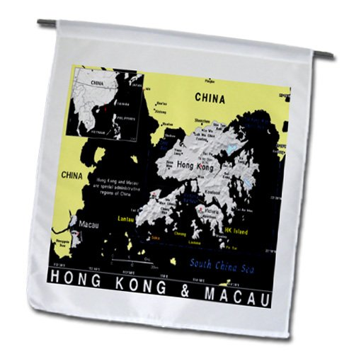 3dRose fl_159759_1 Modern Map of Hong Kong and Macau in Vivid Color Garden Flag, 12 by 18-Inch