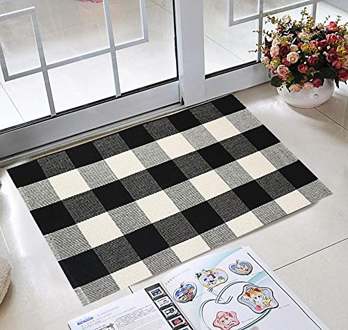 - House Black and White Rug 2×3, Cotton Buffalo Plaid Rug for Front Porch Farmhouse Welcome Door Mat Porch Rugs