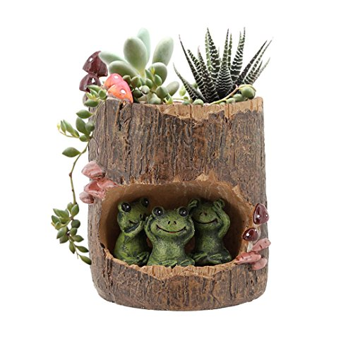 Segreto Creative Plants Pots Brush Pots Planter For Flower Sedum Succulent Plants Desk Garden Room Pot Decor,Mini Sweet Green Frog