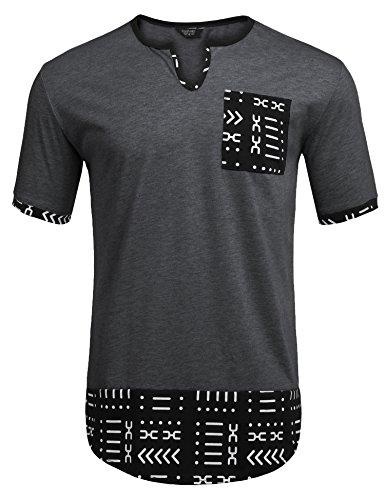 - COOFANDY Mens Hipster Hip Hop Aztec Graphic Print Longline T-Shirt Stylish Designs V Neck Tee Shirt,Dark Grey,Small
