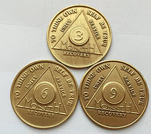 (Set of AA Alcoholics Anonymous Medallions 3 6 9 Month 90 Days Chips Bronze Months Coins)