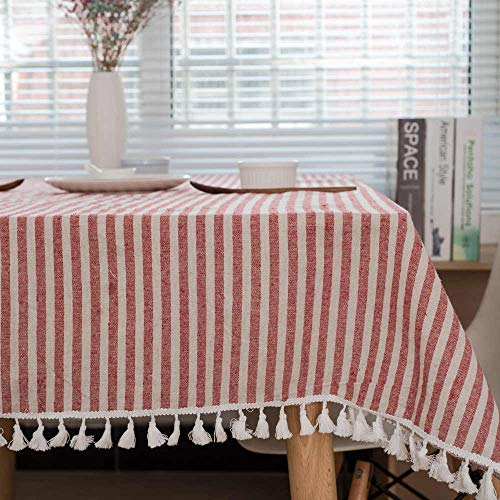 - RXIN Linen Cotton Tablecloth White Plaid Christmas Decoration Table Cloth Color Ball Tassel Dust-Proof Party Table Cover