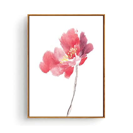 Hepix Canvas Wall Decor Watercolor Pink Flowers Print Wall Art Minimalism Simple Waterproof Wall Pictures With Wood Framed For Bedroom Living Room