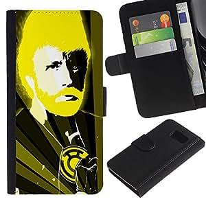 YiPhone /// Tirón de la caja Cartera de cuero con ranuras para tarjetas - Divertido Chuck N Karate Dios - Samsung Galaxy S6