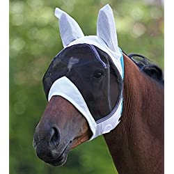 Shires Fine Mesh Fly Mask With Ears, White - Small Pony