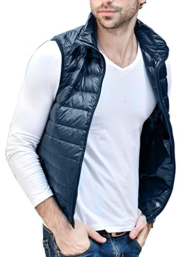 HENGJIA Men's Lightweight Packable Sleeveless Down Puffer Coat Fall and Winter Vests Navy US X-Small(Asian M) (Down Western Vest)