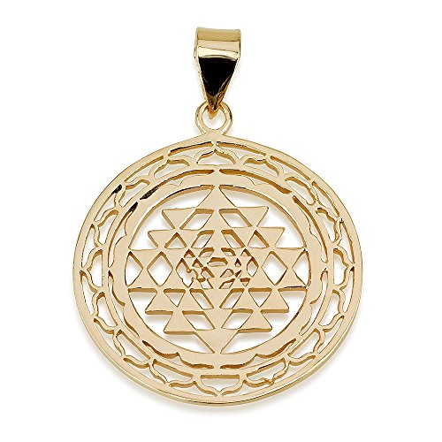 Sri yantra in decorated circle pendant 14k gold plated size 12 sri yantra in decorated circle pendant 14k gold plated size 12 sacred geometry yoga jewelry amazon jewellery mozeypictures Images