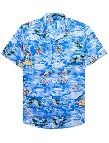 Alimens & Gentle 100% Cotton Regular Fit Short Sleeve Casual Hawaiian Shirt for Men - M