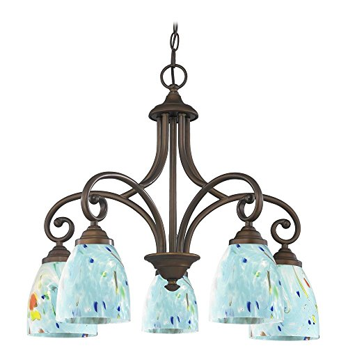 Chandelier with Blue Glass in Bronze Finish - Beaumont Ceiling Chandelier