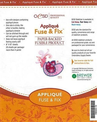 "OESD Applique Fuse & Fix Paper-Backed Fusible Product 8"" ..."