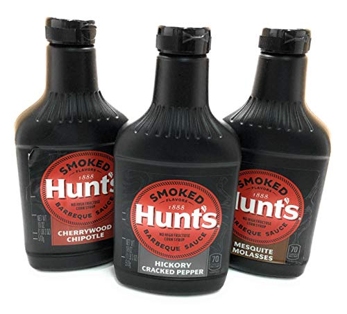 Hunts Smoked Flavors Barbecue Sauce Hickory Cracked Pepper, Cherrywood Chipotle, Mesquite Molasses, 18 Ounce, Variety Pack of 3