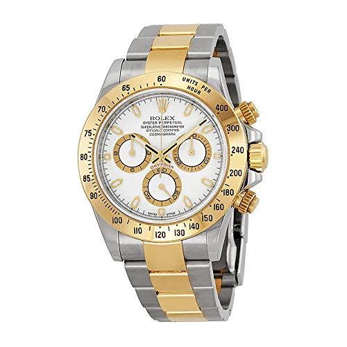 (Rolex Cosmograph Daytona White Dial Stainless Steel and 18K Yellow Gold Rolex Oyster Bracelet Automatic Mens Watch 116503)