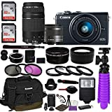 Canon EOS M100 Mirrorless Digital Camera (Black) Bundle w/Canon EF-M 15-45mm is STM & EF 75-300mm f/4-5.6 III Lenses + Auto (EF/EF-S to EF-M) Mount Adapter + Canon Water Resistant Case + Accessories