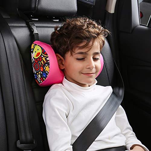 ABE Car Kids Travel Neck Pillow,Car Seat Headrest Pillow,Car Seat Head Neck Support,Adjustable Travel Sleeping Car Pillow for Kids Adults (Pink Bunny)
