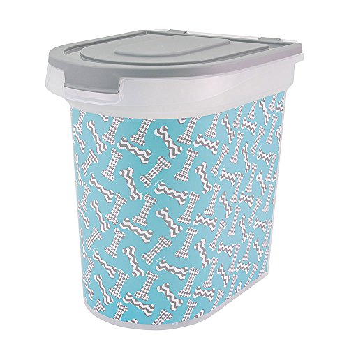 Paw Prints 37914 15 lb. Bones Design Plastic Pet Food Bin, 12.5