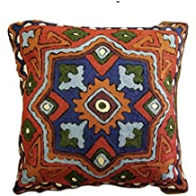 "MII HANDICRAFTS Exclusive Hand Made Woolen Throw Cushion Cover Decorative Square 16""X16"" Warm Wool - Flora (Light Blue Green Blue RED) Thanksgiving Gift"