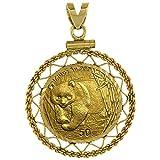 14k Gold 1/10 Gold Panda Bezel Filigree 18mm coin Screw Top
