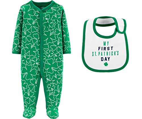 Carter's Baby's First St Patrick's Day Shamrock Sleep and Play Footed Sleeper with Bib for Girls or Boys