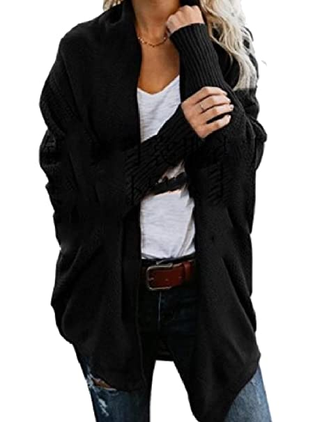 51e52ea9c8ac Tootless-Women Open-Front Sweater Knit Plus Size Long-Sleeve Open Cardi  Black OS at Amazon Women s Clothing store