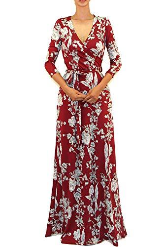 Vivicastle Women's Printed V-Neck 3/4 Sleeve Faux Wrap Waist Tie Long Maxi Dress (Large, I23, -