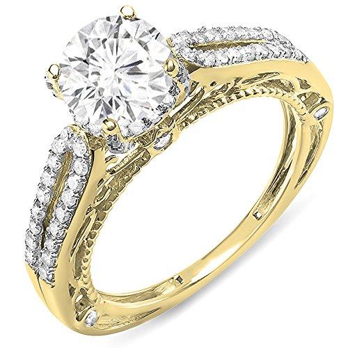 Dazzlingrock Collection 14K Moissanite & White Diamond Ladies Spilt Shank Engagement Bridal Ring, Yellow Gold, Size 8.5 ()