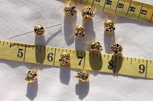 Tibetan 9x11mm Creepy Halloween Style Skull Ant.Golden Jewelry Beads for Jewelry Making, Supply for DIY Beading Projects TSA24 (Pony Bead Patterns Halloween)