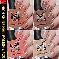 MI Fashion Iconic Nude Series High Shine 4 Nail Polishes Combo 12ml each (Wood Nude, Dark Nude, Cotton Candy, Light Nude)