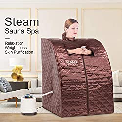 KUPPET Portable Folding Steam Sauna-2L One Person Home Sauna Spa for Full Body Slimming Loss Weight w/Chair, Remote Control, Steam Pot, Foot Rest, Mat