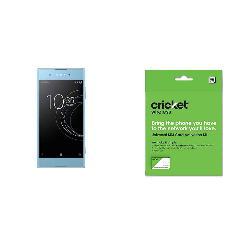 Sony Xperia XA1 Plus - Unlocked Smartphone - 5.5'', 32GB - Blue (US Warranty) and Cricket Wireless BYOD Prepaid SIM Card