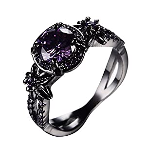RongXing Jewelry Trendy Womens Amethyst Ring,14KT Black Gold Wedding Rings Size8