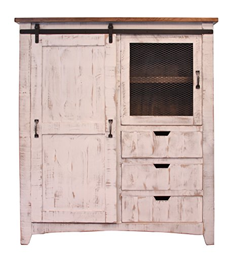 Distressed White Sturdy Solid Wood Anton Sliding Barn Door Gentlemans Chest Armoire. Arrives Fully Assembled And Features Upgraded Dovetail Drawers With Ball Bearing Glides by RR