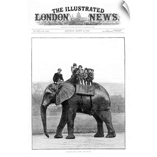 CANVAS ON DEMAND Wall Peel Wall Art Print Entitled Rendering Depicting Circus Elephant, London Illustrated News. 12