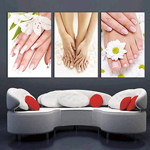 ALENIS 3 Panels Picture Wall art Decorations for living home Canvas painting Unframed Photo Prints Spa Nail Foot Massage Salon