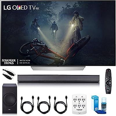 """LG 65"""" C7 OLED 4K HDR Smart TV - OLED65C7P w/LG SJ8 Sound Bar w/ 4.1ch High Resolution Audio - WiFi & Bluetooth + Hookup Bundle"""