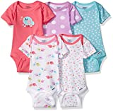 Gerber Baby Girls' 5 Pack Onesies, Elephants/Flowers, 0-3 Months