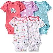 Gerber Baby Girls' 5 Pack Onesies, Birdie, 0-3 Months