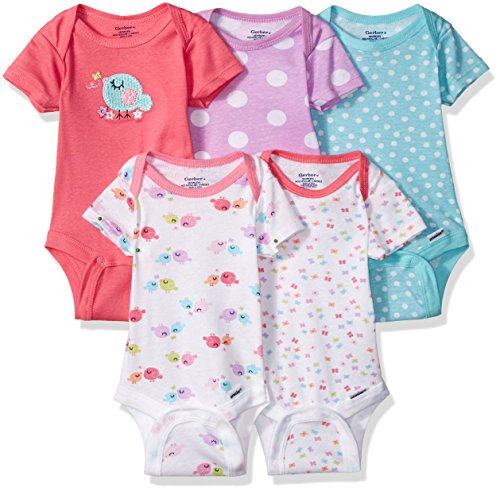 (Gerber Baby Girls' 5-Pack Variety Onesies Bodysuits, Little Birdie, Newborn )