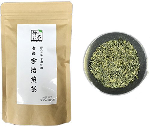 Zen no Ocha Sencha green tea - Japanese loose leaf Organic Green tea 3.53oz 100g (Made in Kyoto Uji Japan)