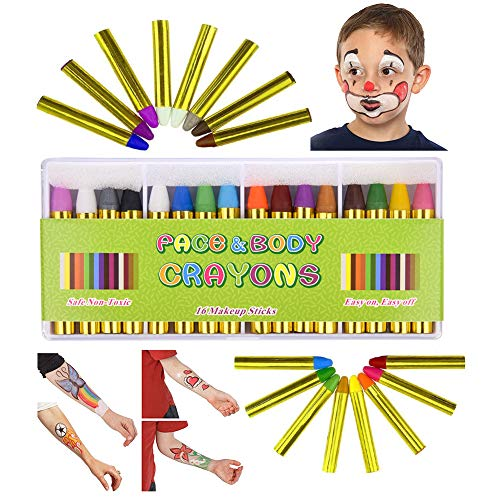 Face Painting Kits for Kids, Professional Washable Safe & Non-Toxic Face and Body Paint Crayons for Party Halloween Cosplay Makeup Paint for Toddler, Children, Adult,Teen - (16 Colors, Size 2.2 inch) ()