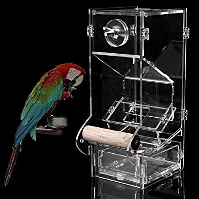 Hikig Acrylic Automatic Pet Bird Cage Feeder Food Container Feeding Parrot Cockatiel from Hikig