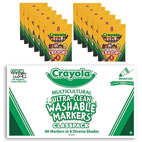 S&S Worldwide Crayola Multicultural Marker & Crayon Easy -