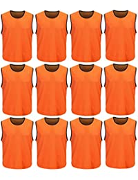 DH Mens Soccer Sports Team Practice Pinnies Scrimmage Training Mesh Vests -12 Pcs Pack