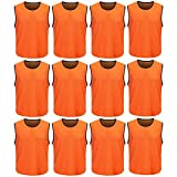 DreamHigh 12 Pack Soccer Team Sports Training Vest Adult Orange
