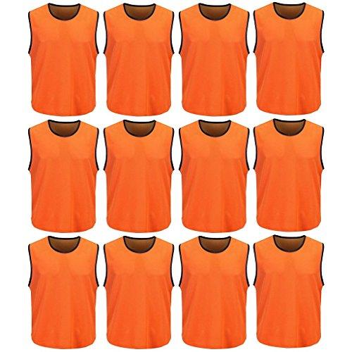 DreamHigh 12 Pack Soccer Team Sports Training Vest Adult Orange by DreamHigh